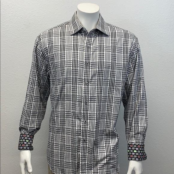 Robert Graham Wht/Blk Trimmed Embroidered Shirt XL